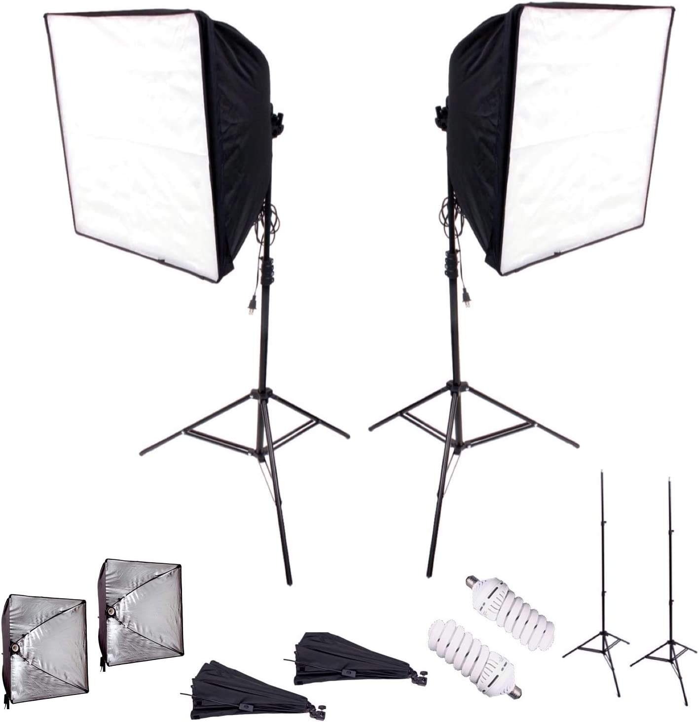 7PCS Photo Studio Softbox Light Kit Photography Video Soft Box w//LED//CFL Socket