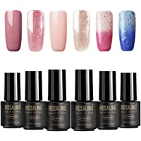 ROSALIND Gel Nail Polish Pink Set of 6PCS Black Bottle Temperature Changing Art UV&LED Soack-Off Nude Color Long-Lasting Manicure Varnish (Need to apply Top Coat and Base Coat)7ML