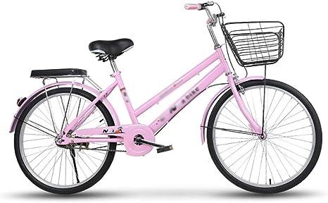 MC.PIG Bicicleta de Mujer-Peso Ligero Estudiante Adulto Urban Retro Lady Bicicleta Bicicleta de cercanías Hombres y Mujeres para Mujeres Marco Retro Bicicleta para Adultos con Cesta: Amazon.es: Deportes y aire libre