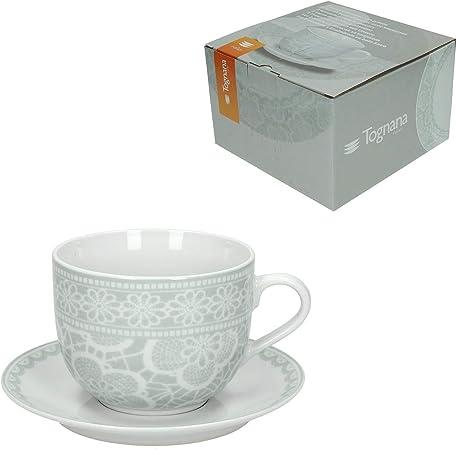 Confezione 2 Tazze Colazione con Piattino Porcellana Bianco Olimpia Rouen