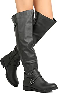 Amazon.com | Vickie16h Over the Knee Riding Boots Black | Boots