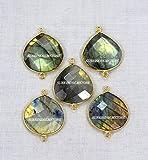 Devgemsandjewels Natural Labradorite Faceted Heart Shape 19 mm approx 24k Gold Plated Double Bail Bezel Charm Connector 50 pcs.