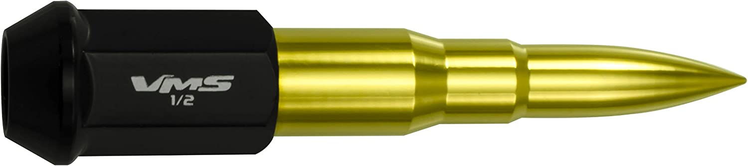 VMS Racing 1//2-20 20PC 112mm Cold Forged Steel Lug Nuts with Gold Extended Bullets in CNC Aluminum Compatible with Ford Mustang 67-73 94-14 1967-1973 1994-2014 with 5 Lug Wheel Pattern