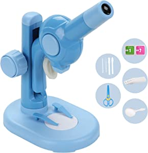 Donzy Kids Beginner Microscope Toy with Professional Optical Glasses - DIY Slides Accessories Inside - Great Educational Toy for Kids