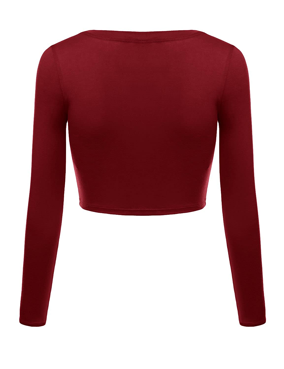 b24261e4e44 Simlu Womens Crop Top Round Neck Basic Long Sleeve Crop Top with Stretch  Reg and Plus Size - USA at Amazon Women's Clothing store: