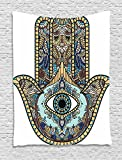 Ambesonne Hamsa Tapestry, Hand of Fatima Religious Sign with All Seeing Eye Vintage Bohemian Zentangle Artwork, Wall Hanging for Bedroom Living Room Dorm, 60WX80L Inches, Multicolor