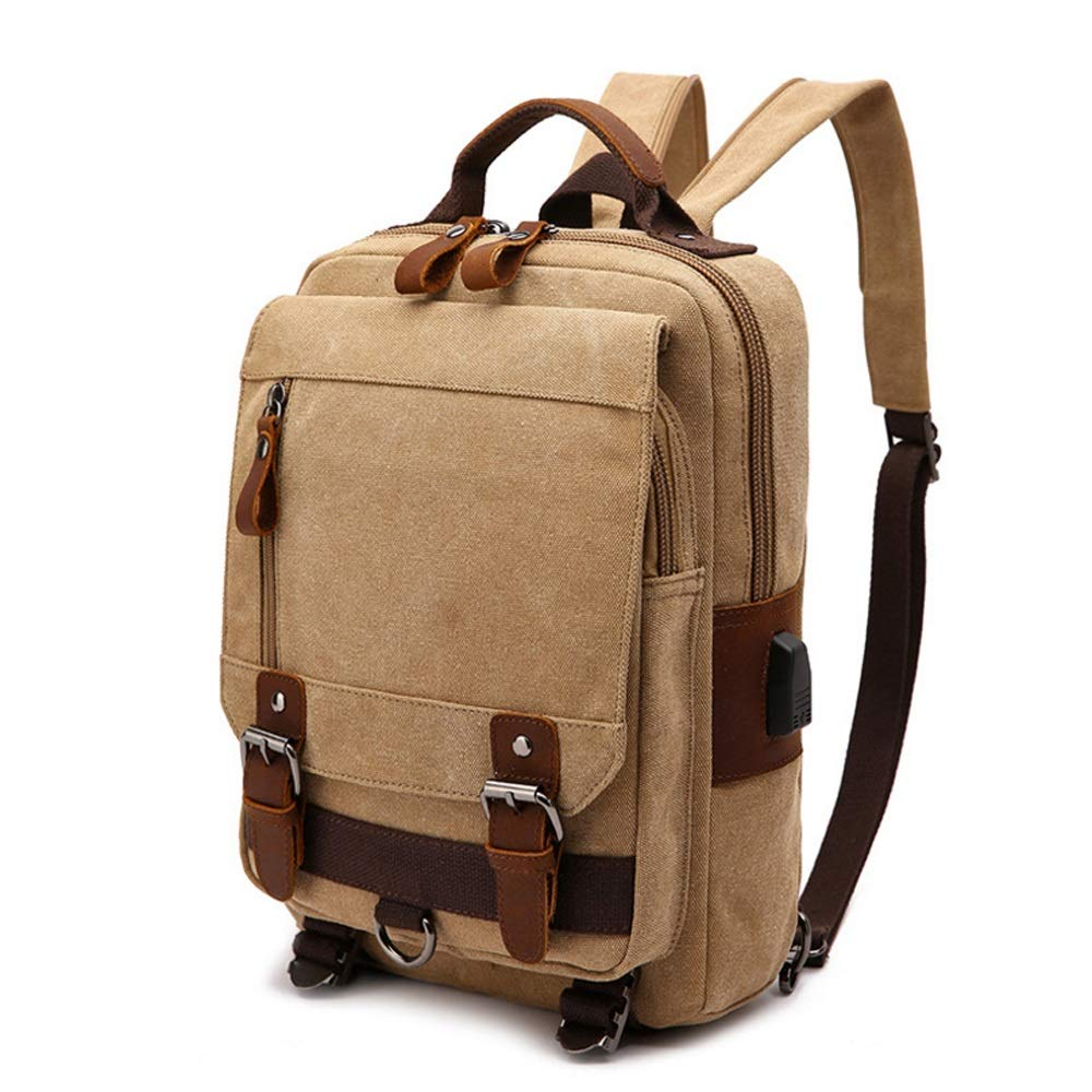 KHAKI Large Canvas Shoulder Backpack Travel Rucksack Sling Bag Cross Body Messenger Bag