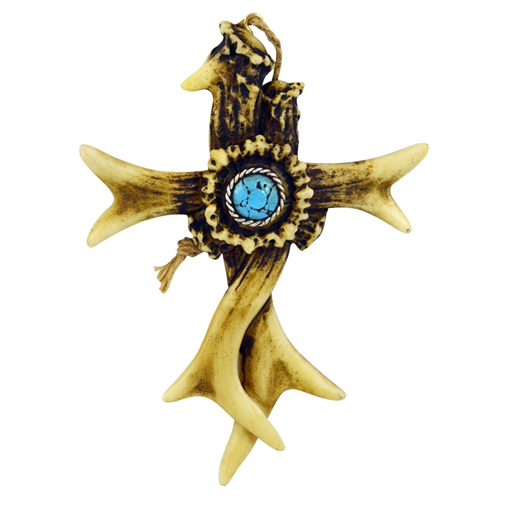"""Pine Ridge Ornament Cross Rustic Shed Antler Turquoise Center Crown Piece - Religious Country Christian Hanging Wall Cross - Car Charm Christening Favors Decor (4"""" x 6"""")"""