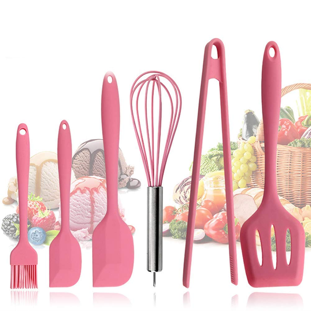 Ksone Home 6pcs Pink kitchenware Food Grade Silicone Kitchen Cooking Tools Durable Cooking Utensils Eco-Friendly Kitchen Baking Tools
