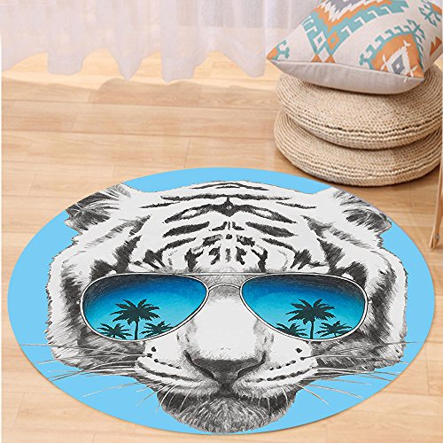 VROSELV Custom carpetAnimal Hand Drawn Portrait Tiger with Mirror Sunglasses Palm Trees Reflection for Bedroom Living Room Dorm Grey Sky Blue Dark Blue Round 72 inches by VROSELV