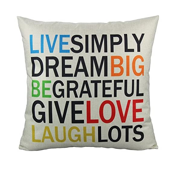 VAKADO Inspirational Quotes Saying Outdoor Throw Pillow Covers Colorful Decorative Words Letters Cushion Cases Home Decor for Couch Sofa Office 18x18 Inch Set of 4 - Pattern: Colorful Inspirational Sayings (You can do it, Live Simply Dream Big Be Grateful Give Love Laugh Lots, Do more of what makes you happy, Live Laugh Love);BEIGE Background. Size: 18x18 Inches (about 45x45 cm); Qty: 4pcs (only cover, no insert) Perfect encouraging gift for men, women, kids, teens, friends and so on; Perfect Decoration for Sofa, Couch, Bed, Bedroom, Living room, Patio, Office, Library, Car, Shop, Outdoor and so on. - patio, outdoor-throw-pillows, outdoor-decor - 61jXHUwYFnL. SS570  -