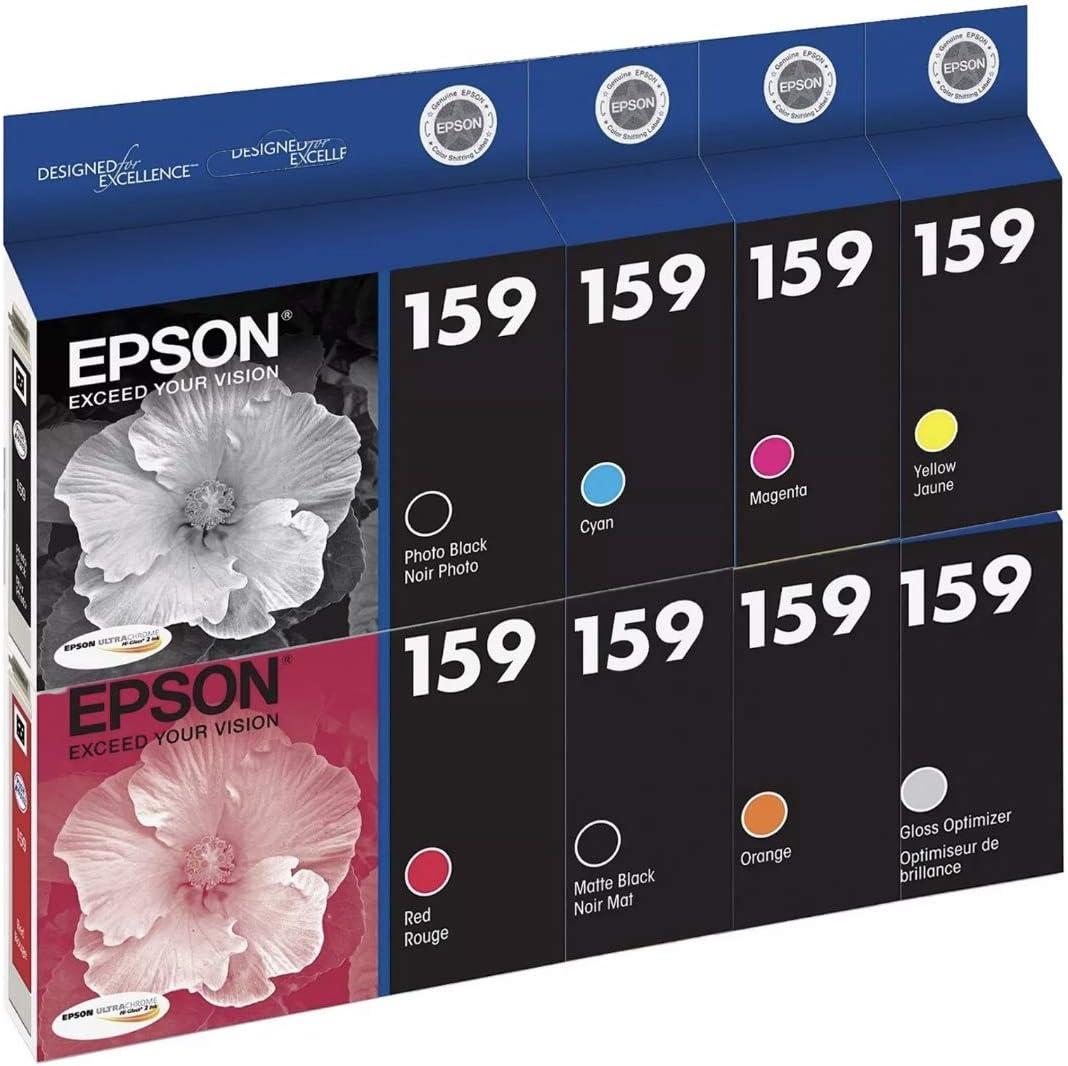 8 Genuine Epson R2000 T159 ink set 159 black cyan magenta yellow red orange
