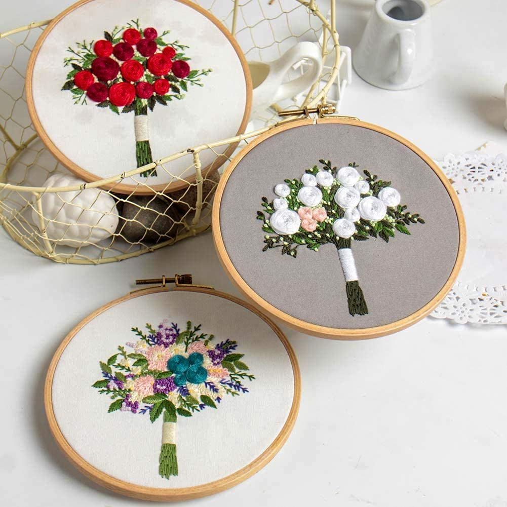 6 inch Plastic Embroidery Hoop Cotton Fibric with Water Soluble Pattern Handy Bouquet Series-Red Roses and Needles Color Threads Akacraft Unfinished Embroidery Starter Kit