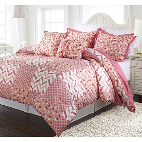 4 Piece Patchwork Geometric Shapes Design Reversible Comforter Set Twin Size, Printed Bohemian Flowers Geo Chevron Zigzag Rainbow Arcs Bedding, Modern Nature Garden Motif, Floral Girls Bedroom, Pink ()
