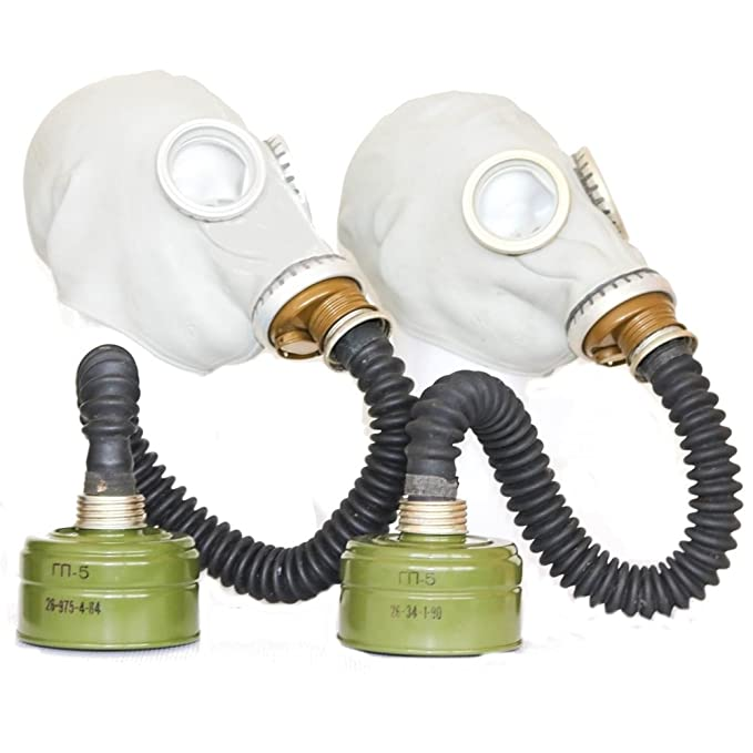 Set of two WW2 Gas Masks GP-5 in black with filters /& hoses and GP-7 in black with filter Soviet Russian NEW Vintage FUNY GIFT