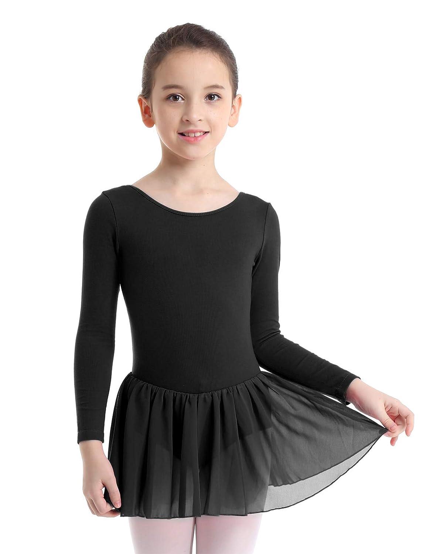 6c5447c8d Amazon.com: CHICTRY Girls Kids Basics Long Sleeve Ballet Dance Dresses  Gymnastics Tutu Leotard Skirt: Clothing