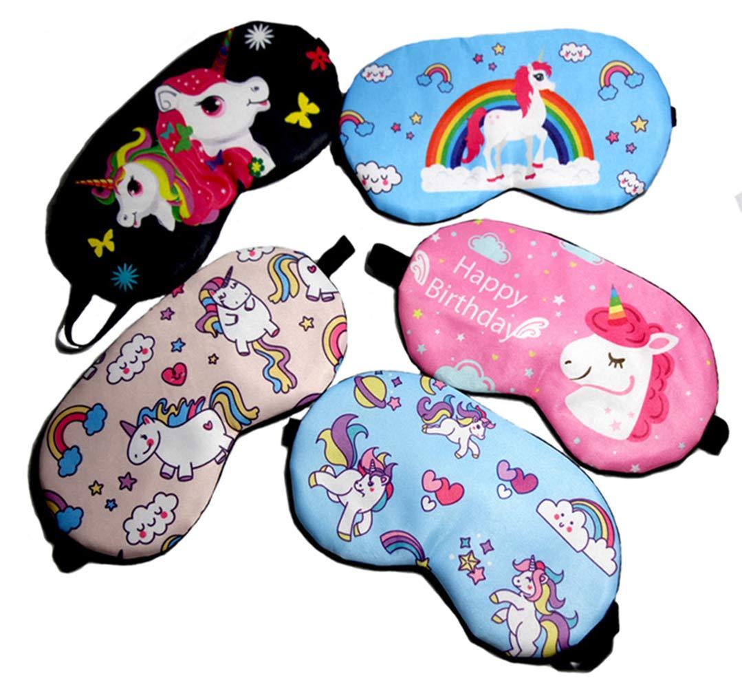 Fashion Unicorn 5Pcs Sleep Mask Cover Lightweight Blindfold Soft Eye Mask for Men Women Kids Yosbabe