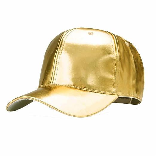 LTFT Men Punk Gold Caps Women Metallic Leather Baseball Snapback Adjustable  Trucker Hat (Dark Gold 18f8decda714