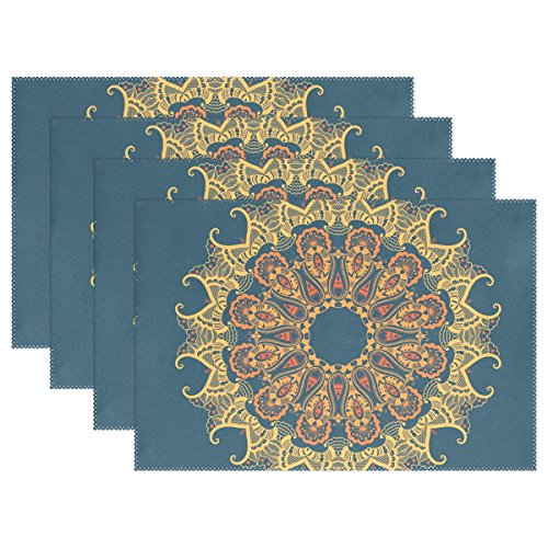 Blue Viper Arabesque Elements Mehndi Style Placemat Heat-resistant Stain Resistant Polyester Fabric Tray Mat for Kitchen Dining Table 12 x 18 inch Set of 1