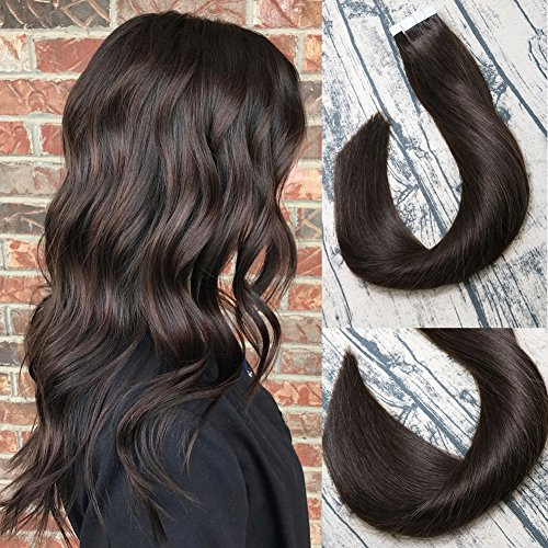 (Tape In Remy Human Hair Extensions 8A 20pcs 50g Per Set #2 Dark Brown Remy Hair Extensions Seamless Skin Weft Remy Silk Straight Hair Glue in Extensions Glue in Extensions Human Hair 14 Inch)