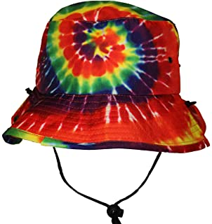 Tie Dye Jungle Bucket Hat With String Strap for Men Women Rainbow Colors 121d82b420ad