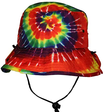 152f9916512da Amazon.com  Tie Dye Jungle Bucket Hat with String Strap for Men Women Kids  Rainbow Colors  Sports   Outdoors