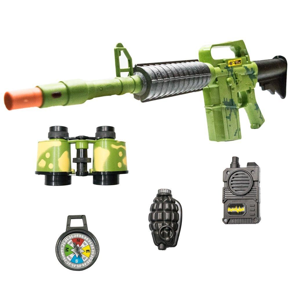 TukTek Kids First Combat Zone Toy Gun 5 Piece Set Military Action Camo Blaster Pretend Play for Boys and Girls