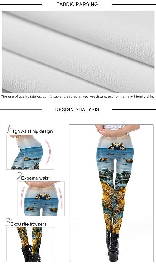 Zhuxin Moda Tendencia Diseño Mujeres Leggings 3D Impreso Paisaje Mar Reef  Surf Navidad Pantalones Medias para Mujer (Color   Blue 1acb603ec61