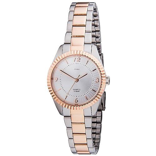 JOBO Damen-Armbanduhr Quarz Analog Edelstahl bicolor Mineralglas