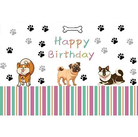 Cassisy 1,5x1m Vinilo Cumpleaños Telon de Fondo Feliz cumpleaños Bandera Perros Lindos Huella de Animales Fondos para Fotografia Party bebé Infantil ...