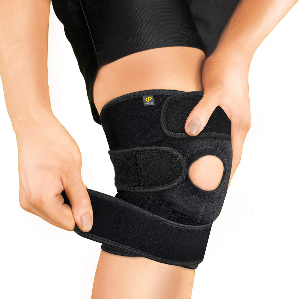 Bracoo Adjustable Compression Knee Patellar Tendon Support Brace for Men Women - Arthritis Pain, Injury Recovery, Running, Workout, KS10 (Black)