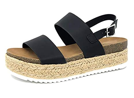 962565c10d3 YATB Womens Casual Espadrilles Trim Rubber Sole Flatform Studded Wedge  Buckle Ankle Strap Open Toe Sandals