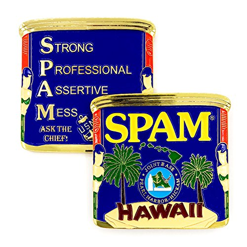 US Navy SPAM CPO (Strong Professional Assertive Mess Chief Petty Officer) Joint Base Pearl Harbor-Hickam, Hawaii Ask the Chief! Challenge Coin ()