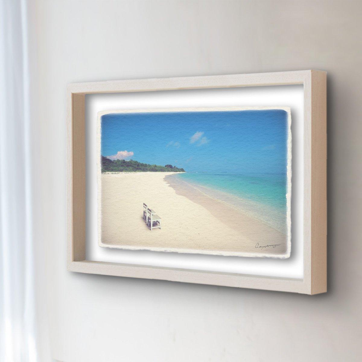 和紙 アートフレーム 「どこまでも続く珊瑚礁の砂浜と白い椅子」 (52x42cm) 結婚祝い プレゼント 絵 絵画 壁掛け 壁飾り 額縁 インテリア アート B0736NCCK7 24.アートフレーム(長辺52cm) 55000円|どこまでも続く珊瑚礁の砂浜と白い椅子 どこまでも続く珊瑚礁の砂浜と白い椅子 24.アートフレーム(長辺52cm) 55000円