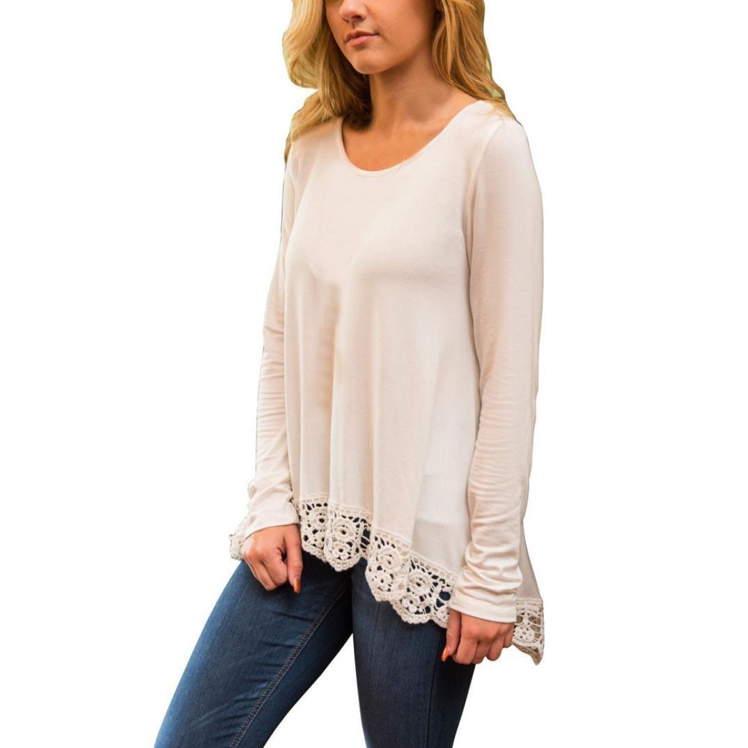 les femmes blouse Longra femmes mode irrégulier en vrac col rond coton manche longue décontractée tops