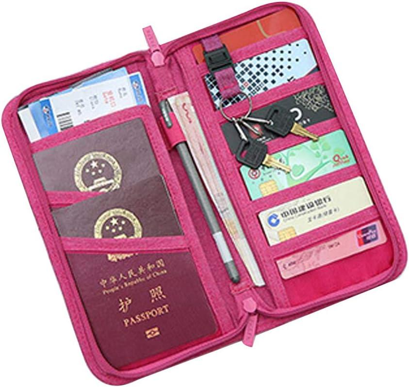 Rouge Wallet Voyage Passport Porte-Monnaie Organisateur Grand Bracelet t/él/éphone Ch/équier Support pour Organisateur Document