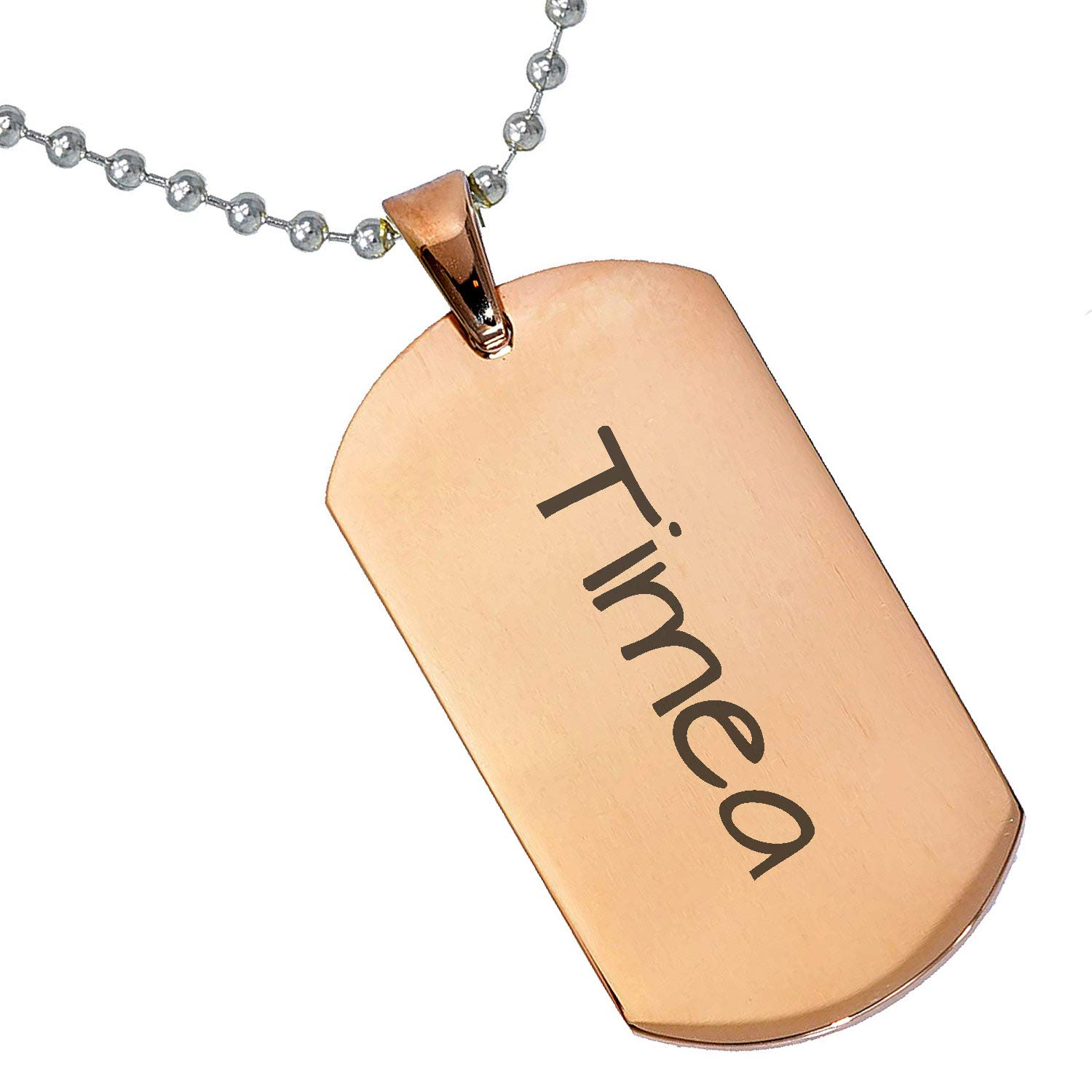 Stainless Steel Silver Gold Black Rose Gold Color Baby Name Timea Engraved Personalized Gifts For Son Daughter Boyfriend Girlfriend Initial Customizable Pendant Necklace Dog Tags 24 Ball Chain