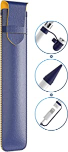 SANKMI for Apple Pencil Accessories,PU Leather Protective Pouch Silicone Pencil Sleeve with Cap Holder and Nib Cover Cable Adapter Tether Compatible with Apple Pencil 1st/2nd Gen (Blue)