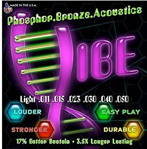 Vibe Strings Light Acoustic Guitar Strings 17% Better Sustain Sound with Over 3 Times Longer Lasting Tone/Gauges 11-50 (Phosphor Bronze/Steel)/Vacuum Wrapped to Ensure Best Quality