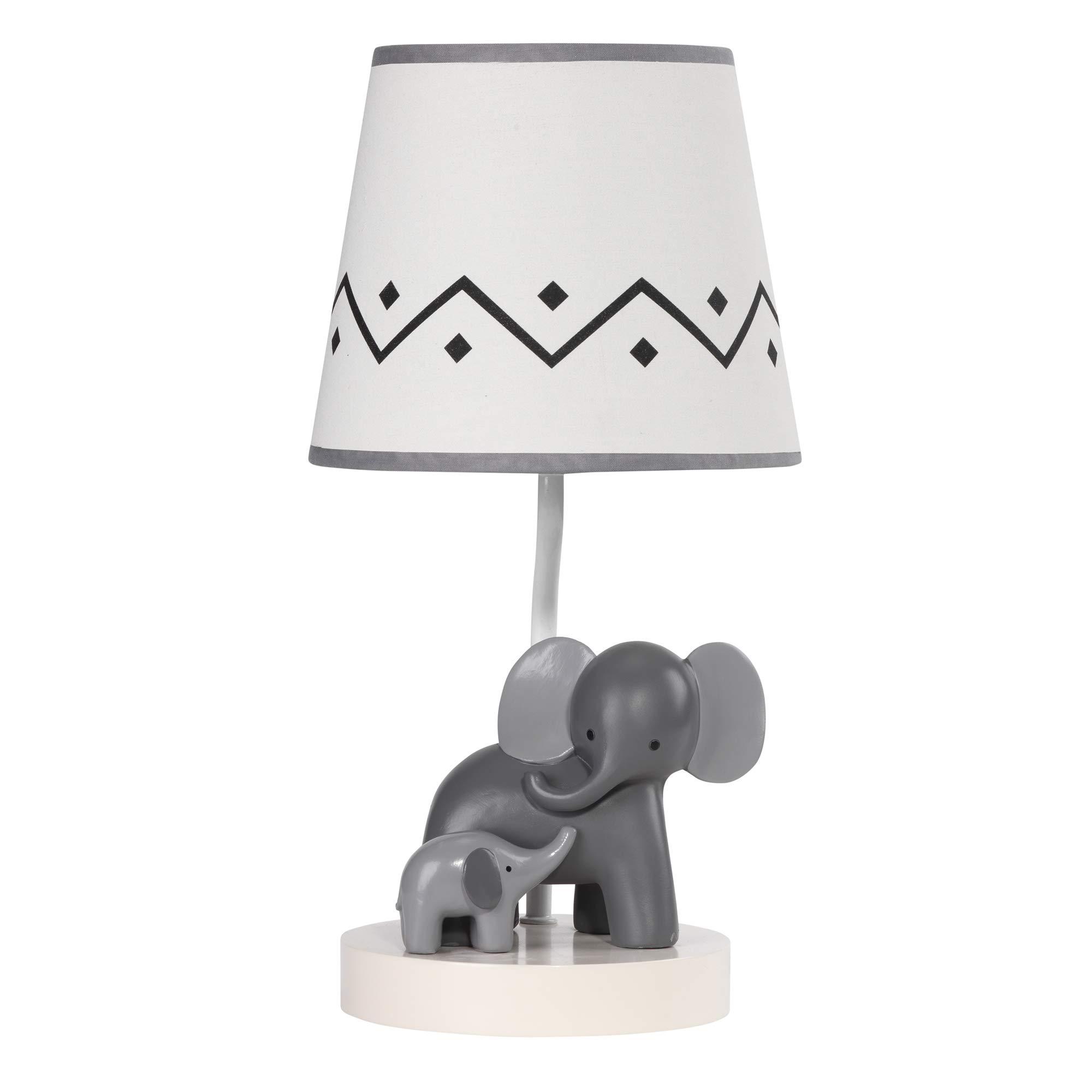 Lambs & Ivy Me & Mama White/Gray Elephant Nursery Lamp with Shade & Bulb by Lambs & Ivy