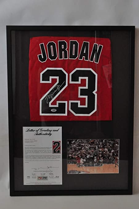 6f1c0b256f8f Michael Jordan Custom Autographed Signed Framed Chicago Bulls Jersey ...