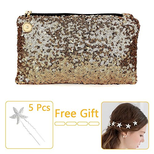 Brendacosmetic Fashion Dazzling Glitter Sparkling Sequins Handbag Makeup Bag ,Shining Clutch Purse Evening Party Bag with 5 Pcs Bling Starfish Hairpins for Wedding Party