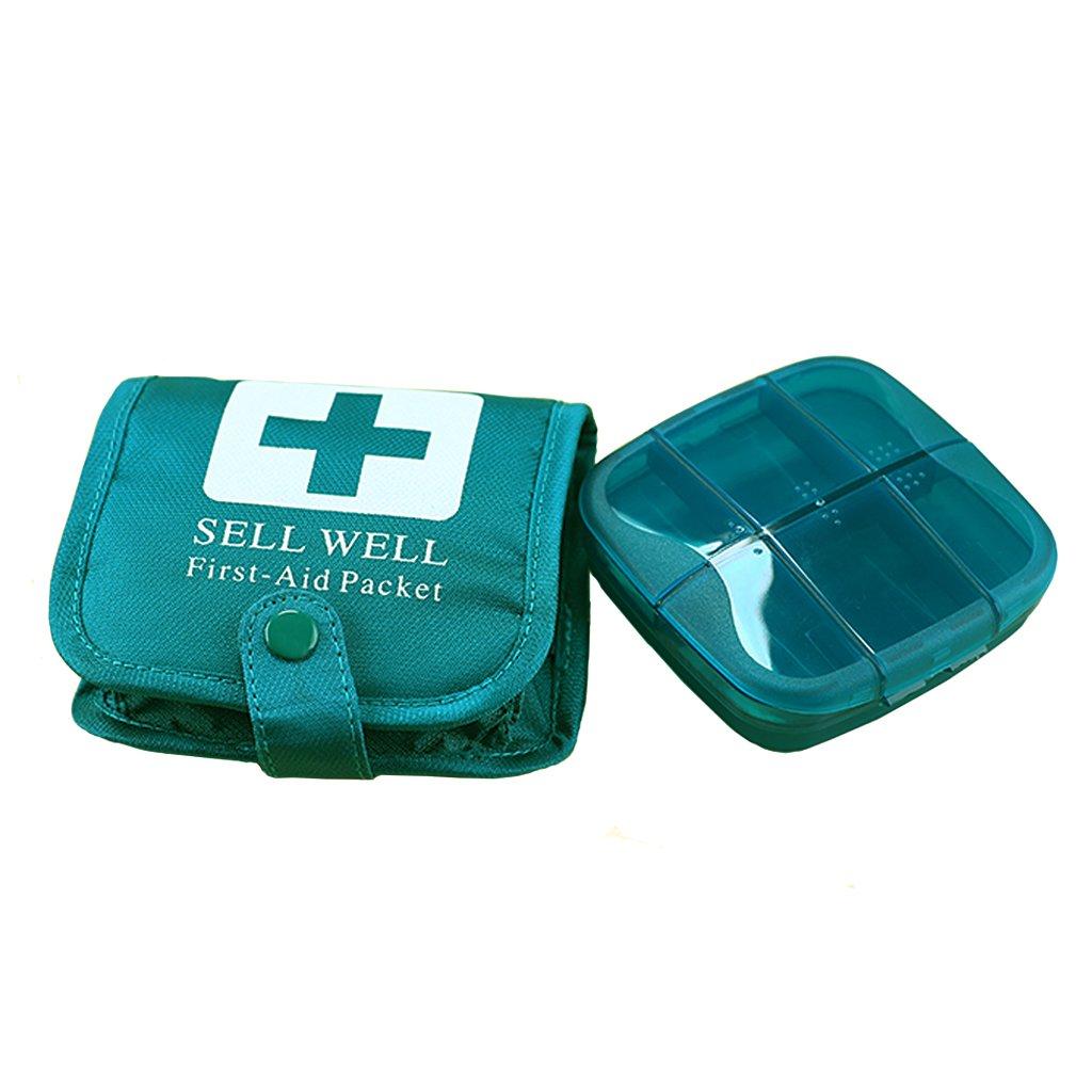 Mini Travel First Aid Kit, Weekly Pill Organizer Pill Box 7 Days Purse for Car Plane Trip by Rachsa (Blue)