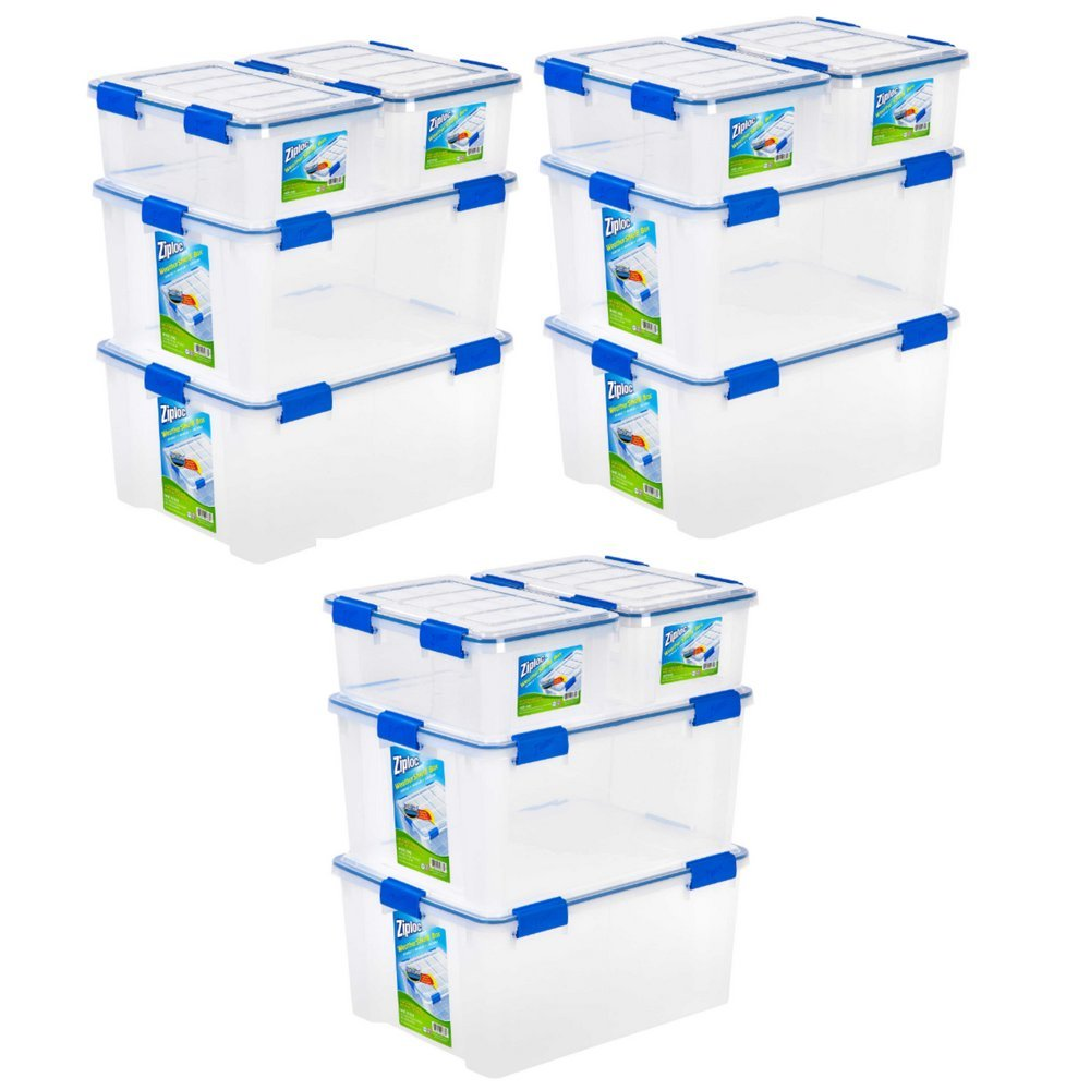 Ziploc WeatherShield 16 qt. and 60 qt. Storage Boxes in Clear (Set of 4) Pack of 3