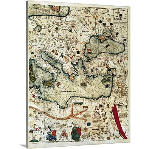 GREATBIGCANVAS Gallery-Wrapped Canvas Entitled Catalan Atlas, 3rd-4th Leaves, Known World in 1375. Detail by 16