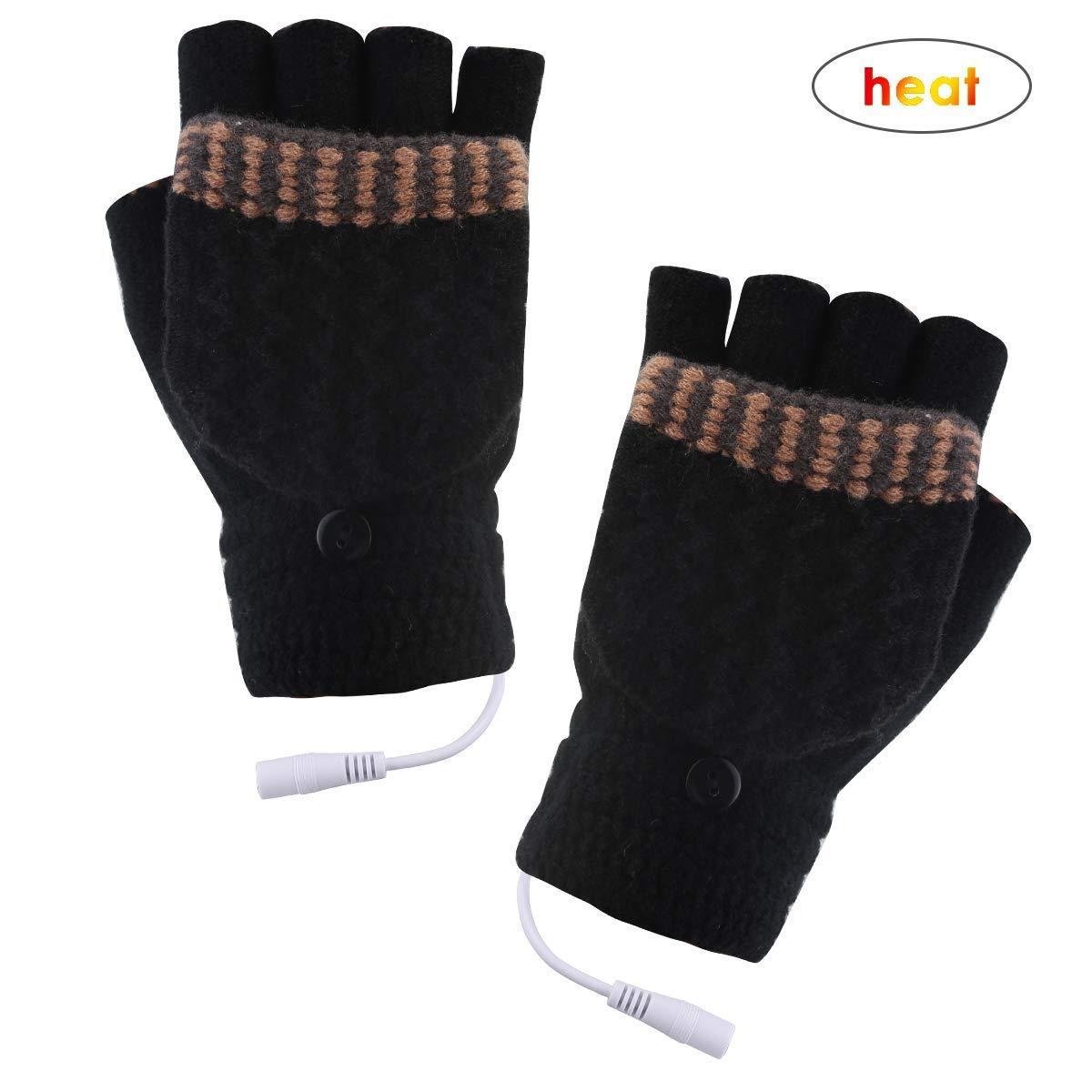 Azyuan USB Heated Gloves, Warm Wool Winter Laptop Gloves, Full & Half Heated Fingerless Heating Gloves, Knitting Hands Warmer, Washable Design (men-dark grey)