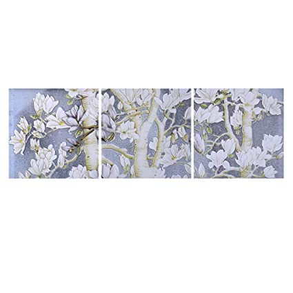 Amazon yasia lei 3 panels pink white oak flowers paingting yasia lei 3 panels pink white oak flowers paingting colorful floral wall art decoration for living mightylinksfo