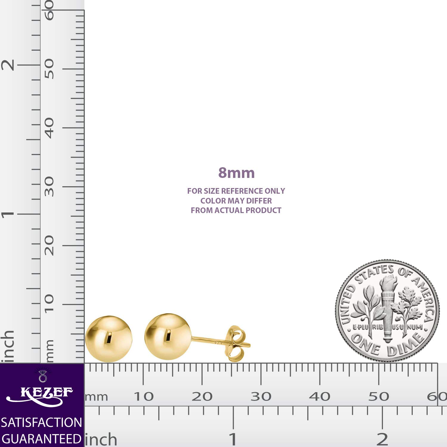 14K Yellow Gold Filled Round Ball Stud Earrings Pushback 8mm by Kezef (Image #6)
