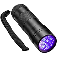 Komak Black Light,UV Flashlight Mini,Scorpion,12 LED, 3 Free AAA Batteries,395nm,for Kids,Blood,Urine Detection,Pet Urine,Stains,Bed Bug