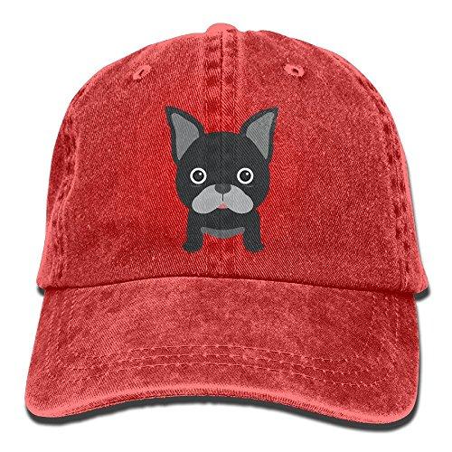 Unisex I Love French Bulldog Washed Cotton Denim Baseball Cap Vintage Adjustable Dad Hat for Men Women Red